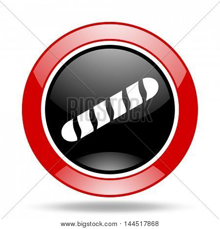 baguette round glossy red and black web icon
