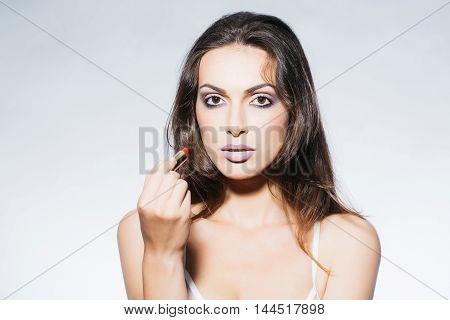 Pretty Woman In Bra With Red Lipstick