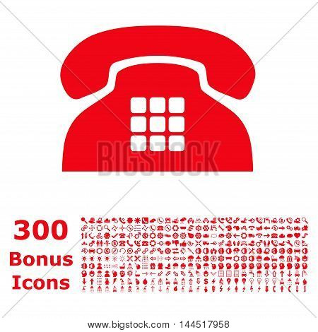 Tone Phone icon with 300 bonus icons. Vector illustration style is flat iconic symbols, red color, white background.