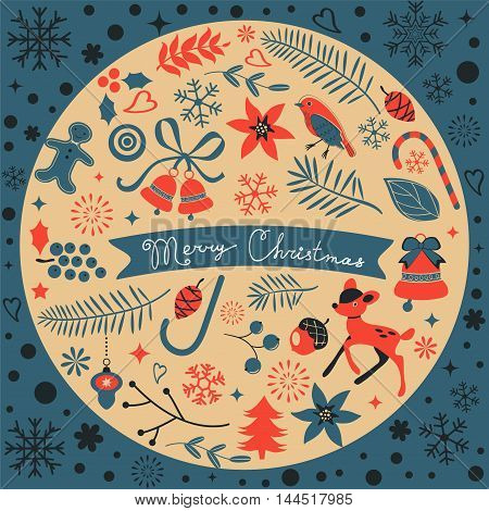 Beautiful Christmas round composition. Vector format illustration