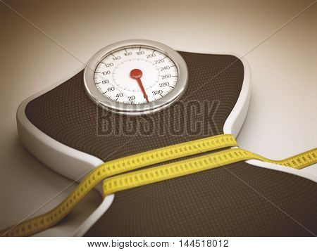 3D illustration. Tape measure around the balance decreasing its measures.