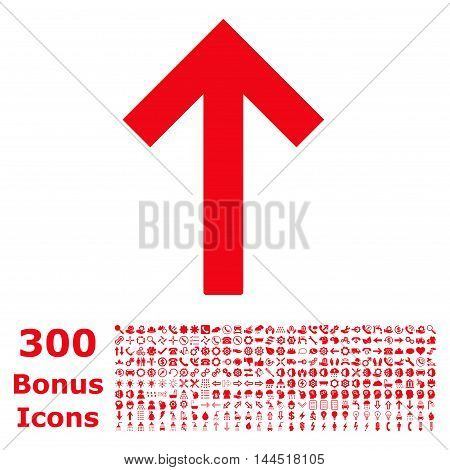 Up Arrow icon with 300 bonus icons. Vector illustration style is flat iconic symbols, red color, white background.