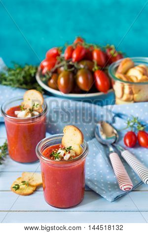 Tasty no-cook soup gaspacho and fresh ingredients.