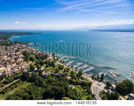 Aerial view of Nyon old city and waterfront in Switzerland