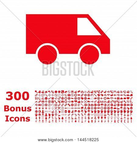 Van icon with 300 bonus icons. Vector illustration style is flat iconic symbols, red color, white background.