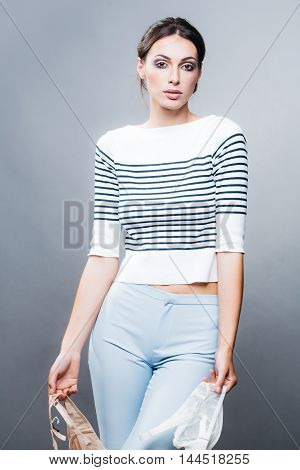 Pretty Stylish Woman With Bra In Studio