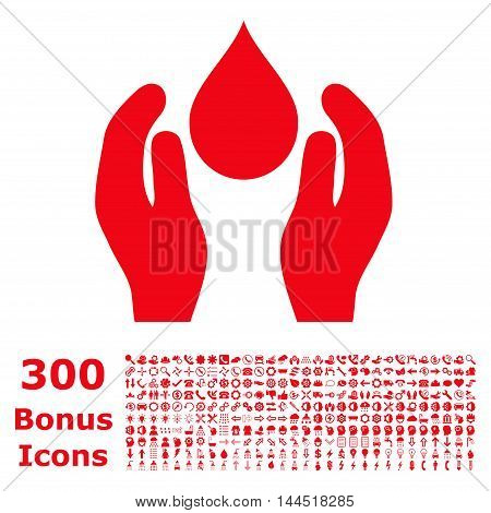 Water Care icon with 300 bonus icons. Vector illustration style is flat iconic symbols, red color, white background.