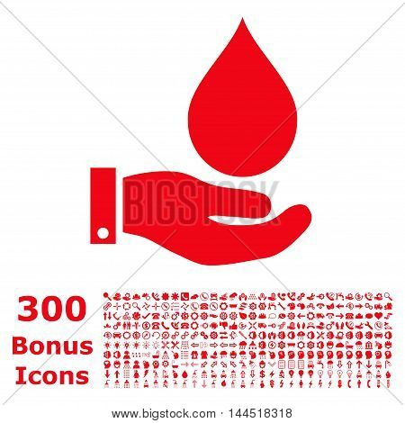 Water Service icon with 300 bonus icons. Vector illustration style is flat iconic symbols, red color, white background.
