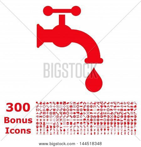 Water Tap icon with 300 bonus icons. Vector illustration style is flat iconic symbols, red color, white background.