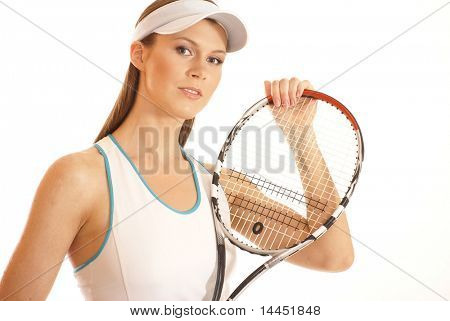 Young fit tennis player isolated on white