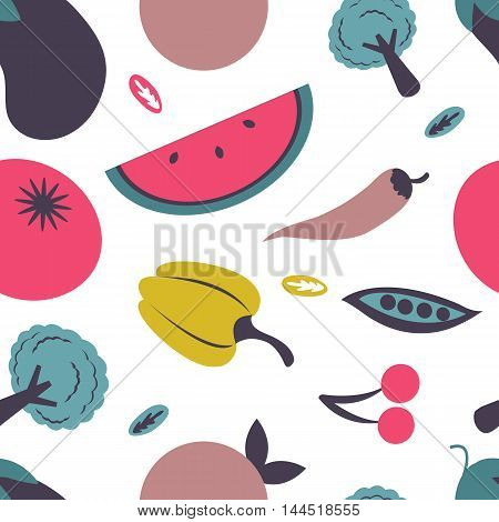 Colorful fresh fruit and vegetables seamless pattern. Vector illustration