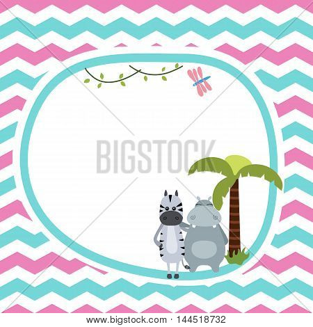 Greeting card with zebra and hippo. Seamless background.
