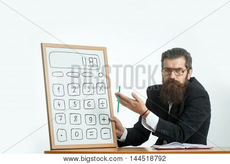 Bearded Man Professor Glasses With Calculator