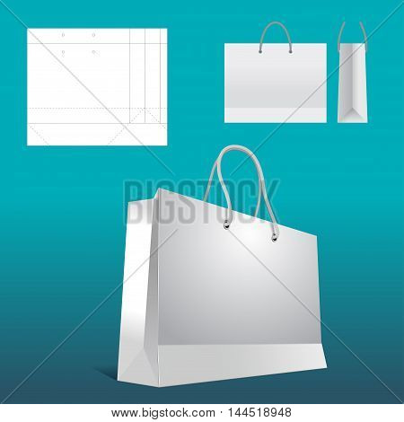 White horizontal paper shopping bag with a cut