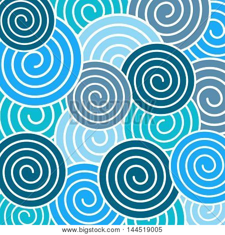 Pattern in a plurality of different sizes of blue spirals