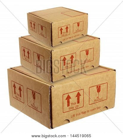 Stack of Cardboard Boxes on White Background