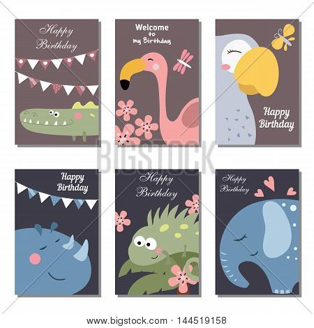 Set of beautiful birthday invitation cards decorated with wild animals.