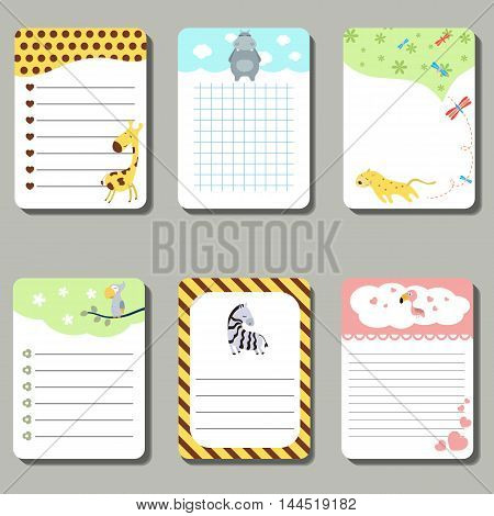 Set of cute creative cards with cute animals. Vector design templates for greeting / gift cards flyers posters etc.