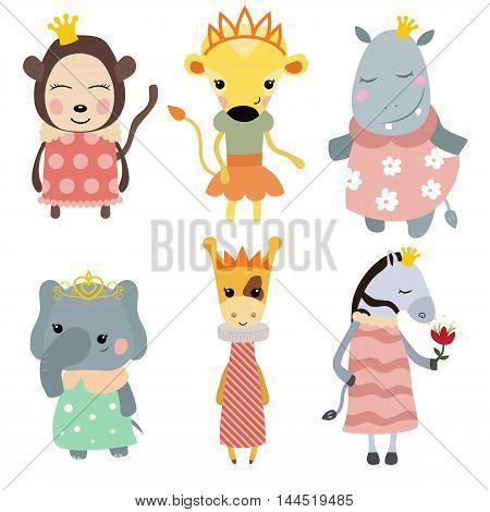 Set of Princess animals. Collection of animals dressed as princess.