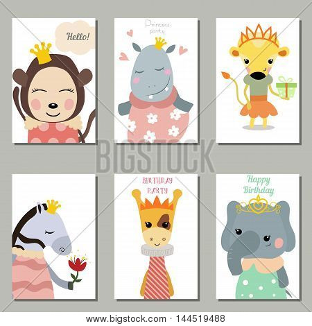 Set of beautiful birthday invitation cards decorated with cute animals on white background. Princess animals.