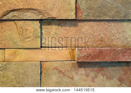 Internal decorative wall made from red brick tiles
