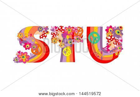 Hippie childish alphabet with colorful abstract flowers, rainbow and mushrooms. S, T, U