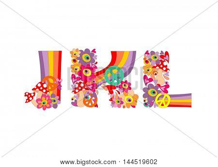 Hippie childish alphabet with colorful abstract flowers, rainbow and mushrooms. J, K, L