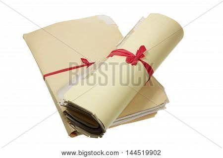 Bundles of Documents on a White Background