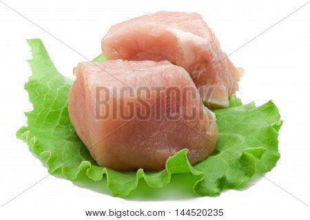 Piece of raw pork meat isolated over white background