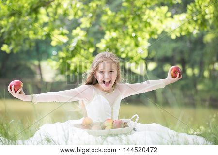 Small Girl In Dress With Fruit Basket