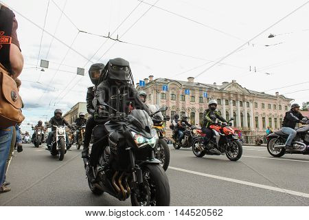 St. Petersburg, Russia - 13 August, Bikers on the Nevsky Prospekt,13 August, 2016. The annual parade of Harley Davidson in the squares and streets of St. Petersburg.