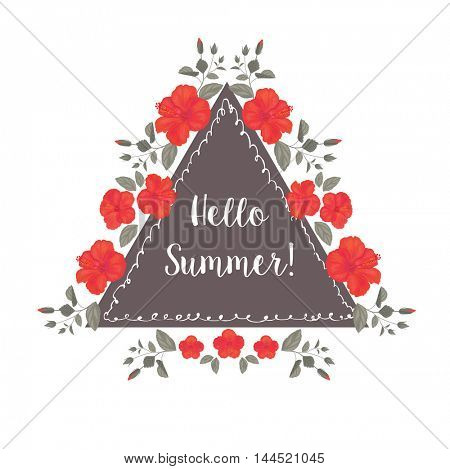 Hibiscus Flower Frame. Summer Greeting Card Design. T-shirt Fashion Graphic.