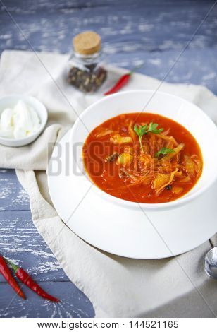 Borsch russian national red soup on the wooden background