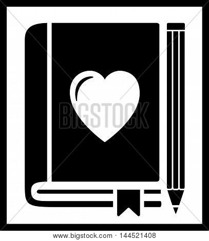 black icon with book and heart silhouette
