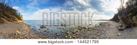 Panorama of Baltic Sea at the Orlowo cliff, Poland