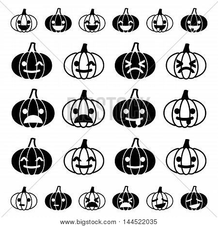 Glyph minimalistic funny emoji pumpkin icon set