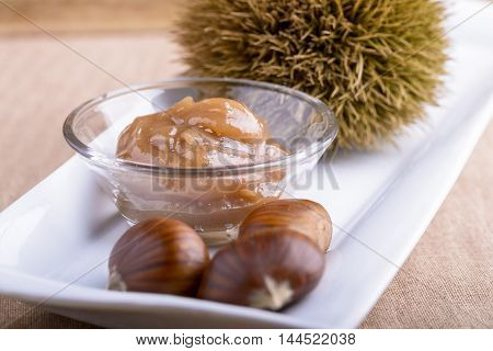 chestnut jam, chestnut and curly on white dish
