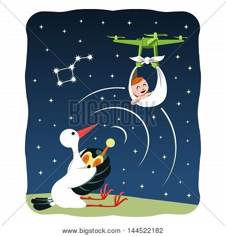 Stork delivering baby with qadrcopter at the night