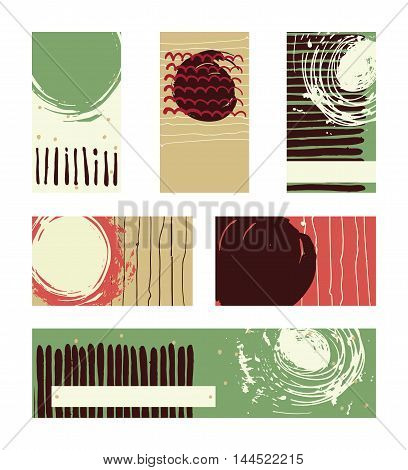 Vector collection of contrast colored business vertical and horizontal cards and banner hand drawn with liquid ink and brush with splashes stripes and imperfections. Beige green and brown colors.