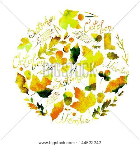 illustration depicting a set of leaves, twigs, berries, flowers, autumn elements and inscriptions September, October, November. watercolor texture yellow, red , orange, brown colors