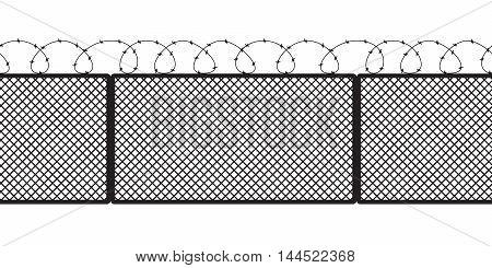 Metallic Fence Isolated On White Background.