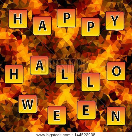 Multicolor low-poly vector background with text Happy Halloween