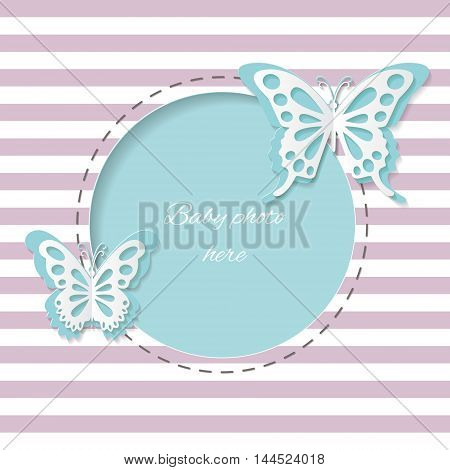 Cute round frame with paper cut butterflies on stripped background. Editable. Easy to use.