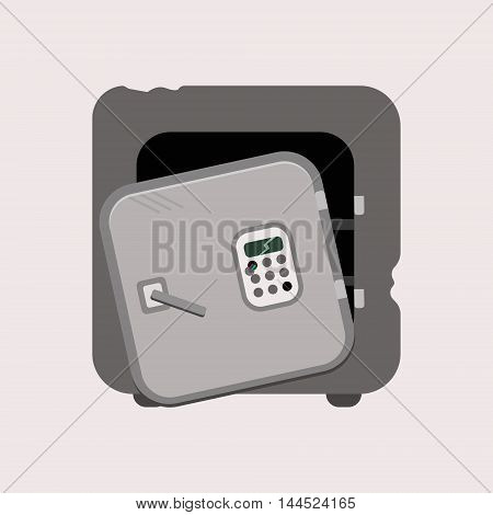 Metal Bank Safe Vector Icon In A Flat Style.