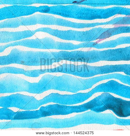 watercolor texture , embossed horizontal brush strips of bright blue colors on a white background