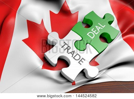 Canada trade deals and international commerce concept, 3D rendering