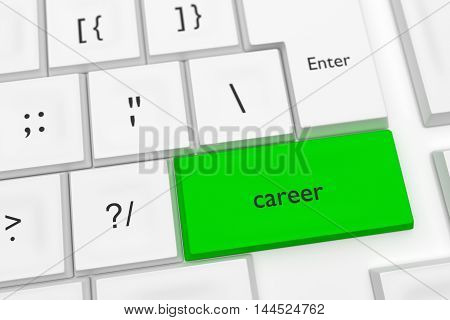 Computer Keyboard With The Word Career On A Green Key As A Hot Button 3d illustration