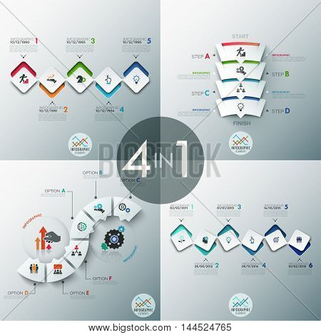 Set of 4 modern infographics options banner with abstract paper rectangle shapes and icons. Vector. Can be used for web design and  workflow layout