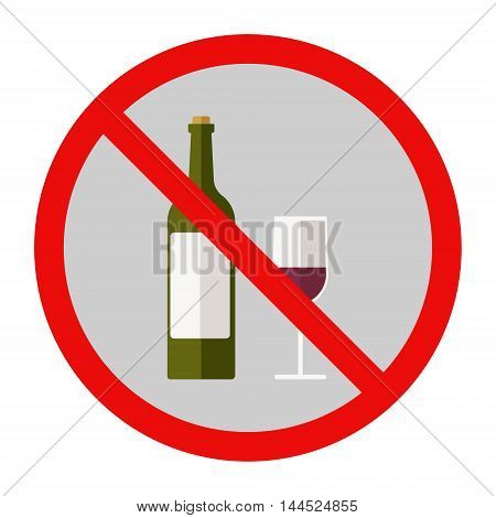 Red wine bottle and glass. Drinking is forbidden. Flat vector stock illustration.