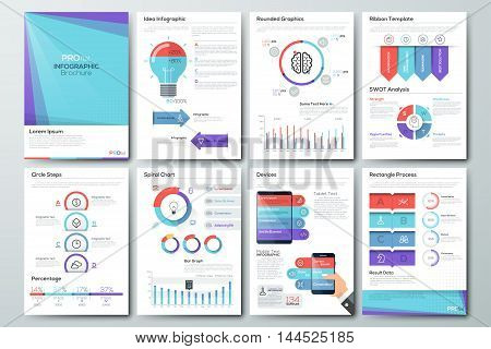 Data visualization brochures and infographic business templates. Use in website, corporate brochure, advertising and marketing. Pie charts, line graphs, bar graphs and timelines.